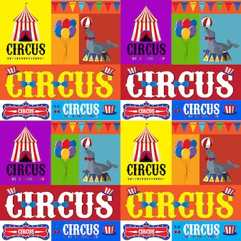 Posterontwerp voor circus met tent en dieren