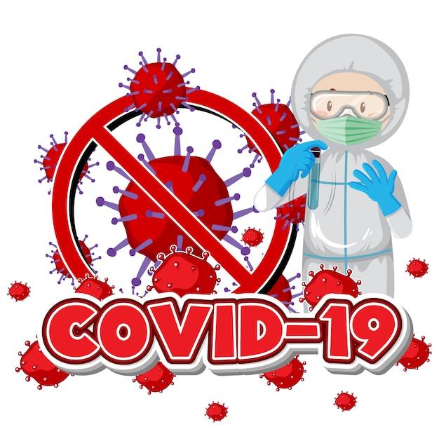 Posterontwerp voor coronavirusthema met dokter in hazmat-pak