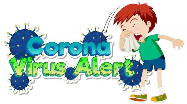 Posterontwerp voor coronavirusthema met hoestende jongen