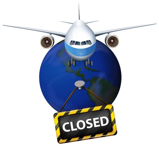 Posterontwerp voor coronavirusthema met vliegtuig dat op aarde vliegt