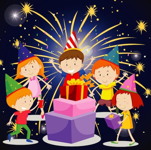 Posterontwerp voor feestplezier met blije kinderen