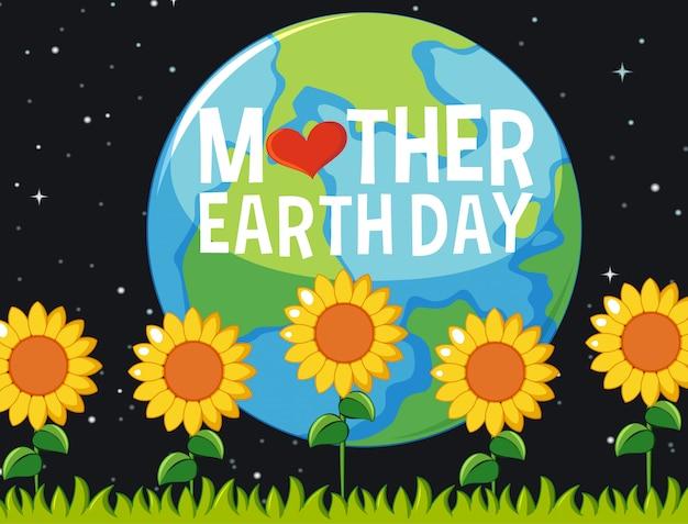 Posterontwerp voor moeder aarde dag met zonnebloemen in de tuin 's nachts