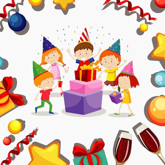 Posterontwerp voor nieuwjaar met gelukkige kinderen