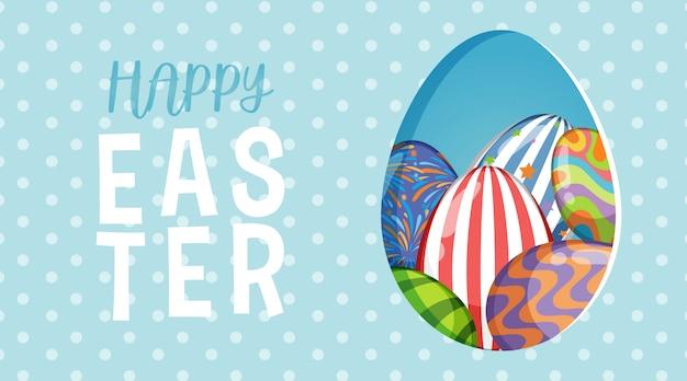 Posterontwerp voor pasen met beschilderde eieren op polka dot achtergrond