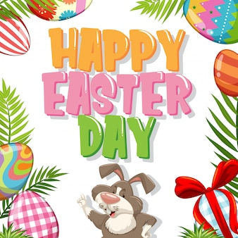 Posterontwerp voor pasen met konijn en beschilderde eieren