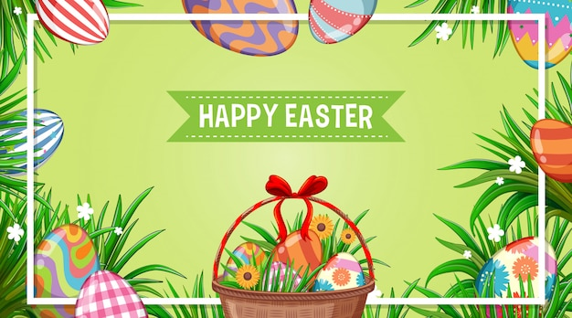 Posterontwerp voor pasen met versierde eieren in de tuin