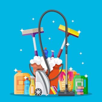 Posterontwerp voor schoonmaakservice en benodigdheden