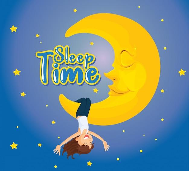 Posterontwerp voor woord slaaptijd met meisje op de maan