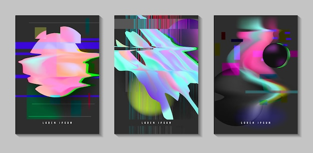 Posters, covers met glitch-effect en bauhaus vloeiende vormen. abstracte futuristische hipster design set voor plakkaat, banner, flyers. vector illustratie