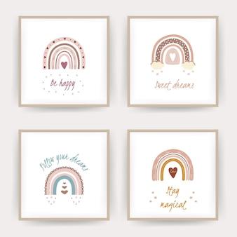 Posters met boho regenbogen. belettering zoete dromen en wees gelukkig.