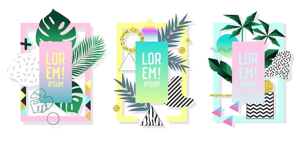 Posters set met abstracte geometrische elementen en palmbladeren. tropische ontwerpset memphis stijl 80s-90s mode voor covers, plakkaten, flyers. vector illustratie