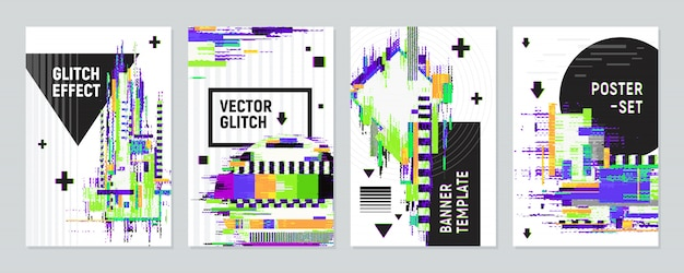 Posters set met glitch effect