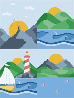 Posters van zomerlandschappen met verschillende uitzichten op zee, bergen en heuvels vectorillustratie