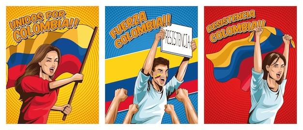 Posterset met colombianen die protesteren