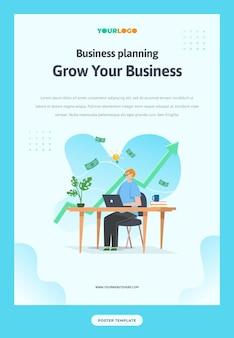 Postersjabloon met plat karakter, statistiekenillustratie groeiend bedrijf gebruikt voor web, app, infographic, reclame, enz