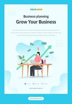 Postersjabloon met plat karakter, statistiekillustratie growing business