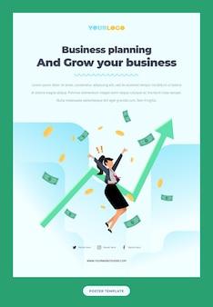 Postersjabloon met platte karakterillustratie growing business