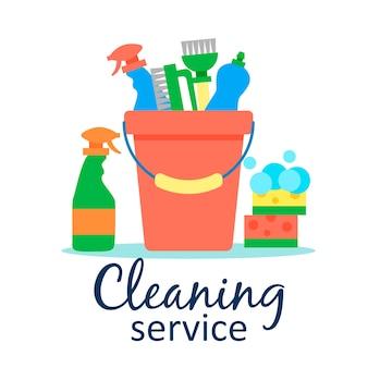 Postersjabloon voor schoonmaakdiensten met verschillende schoonmaakartikelen