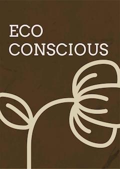 Postersjabloonvector met eco-bewuste tekst in aardetint