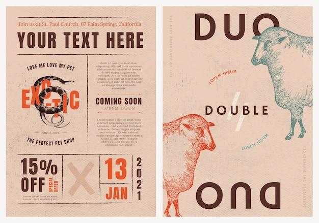 Postersjabloonvector voor retro winkeladvertentieset