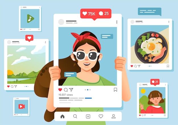 Postfeed op sociale media, geïllustreerd met jonge vrouwen die een frame voor haar gezicht houden.