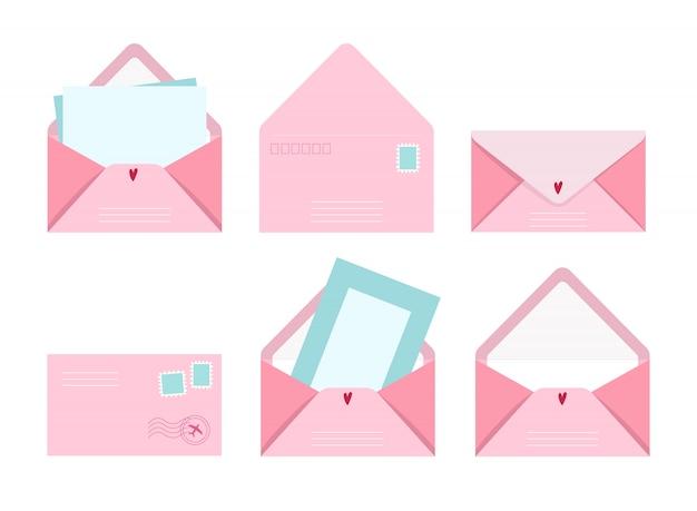 Postkaart en envelop set, illustratie postbrieven met wenskaart en postzegels, schattige roze collectie van liefde en vriendschap briefontwerpen