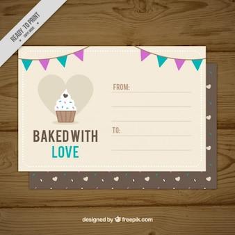 Postkaart met cupcake detail en mooie uitdrukking