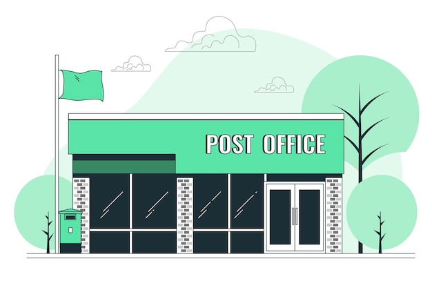 Postkantoor concept illustratie