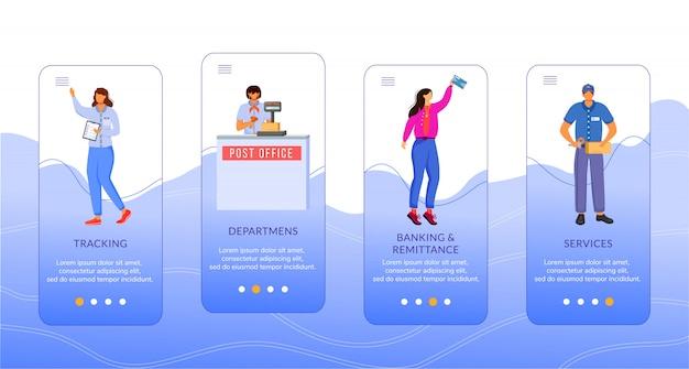 Postkantoor onboarding mobiele app schermsjabloon. tracking, services, bankieren en geld overmaken. walkthrough website stappen met karakters. ux, ui, gui smartphone cartoon interface-concept