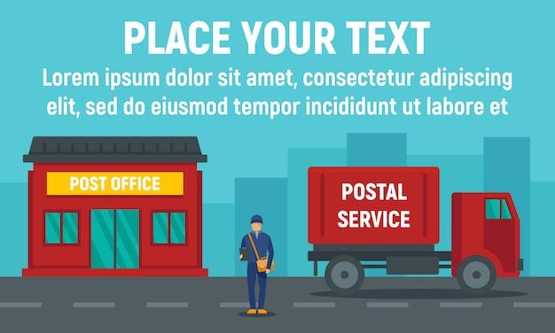 Postkantoor, postbanner, vlakke stijl