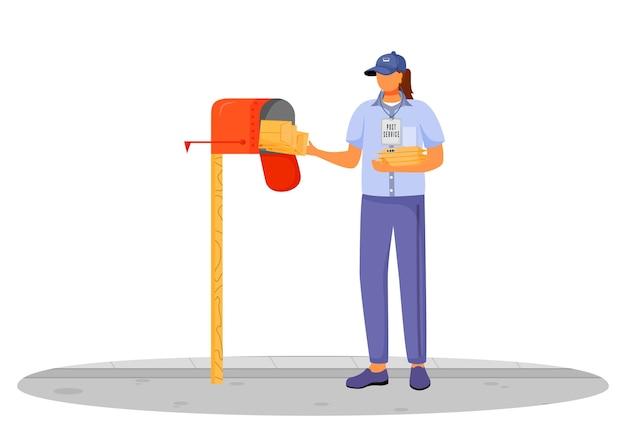 Postkantoor vrouwelijke werknemer platte ontwerp kleur illustratie