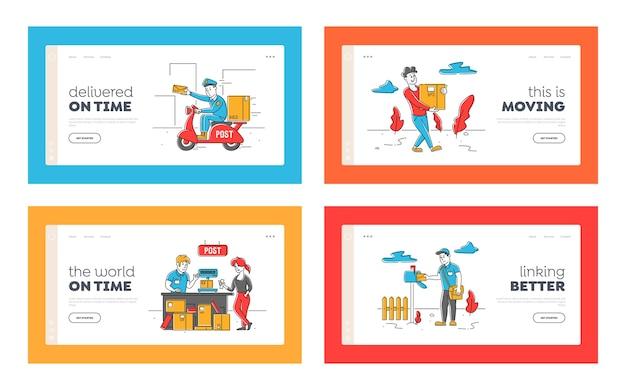Postkantoorpersoneel en klanten tekens landingspagina sjabloon set