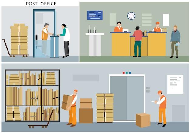 Postkantoorpersoneel, postbodes in het interieur van het postkantoor.