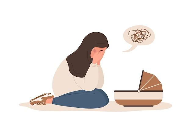 Postnatale depressie. arabische vermoeide moeder heeft psychologische hulp nodig.