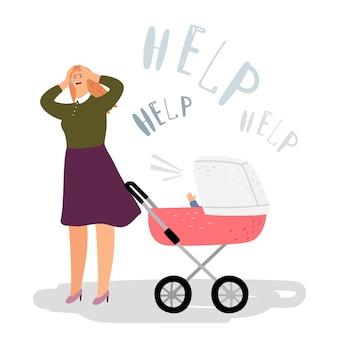 Postnatale depressie concept. huilende vrouw, pasgeboren in buggy. vector postpartum depressie, moeder heeft hulp nodig