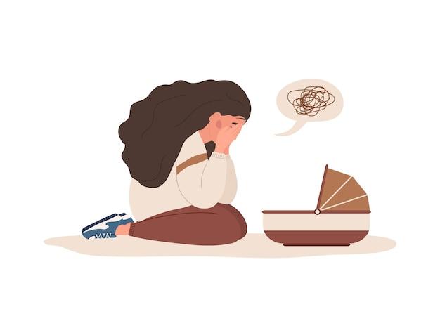 Postnatale depressie. jonge moeder heeft psychologische hulp nodig.