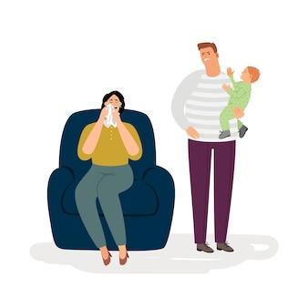 Postpartum depressie illustratie concept
