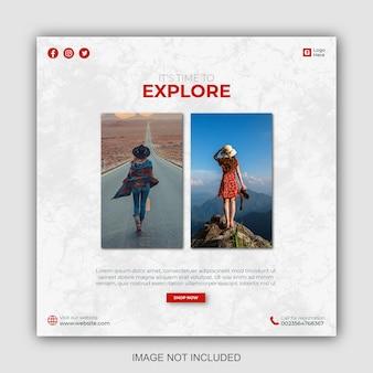 Postsjablonen voor sociale media voor vakantiereizen