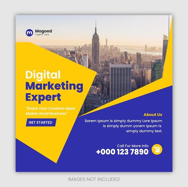 Postsjabloon voor digitale marketing social media