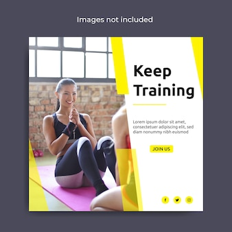 Postsjabloon voor fitness sociale media Premium Vector