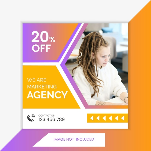 Postsjabloon voor sociale media, advertentieontwerp, digitaal marketingbureau en webbanner
