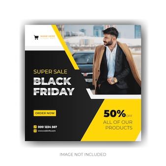 Postsjabloon voor sociale media met sjabloon voor spandoek van black friday-verkoop premium vector