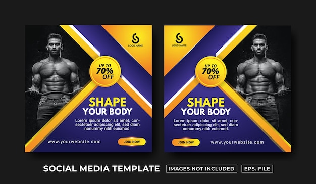 Postsjabloon voor sportschool en fitness voor sociale media