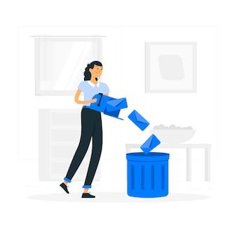 Postvak in opruimen illustratie concept