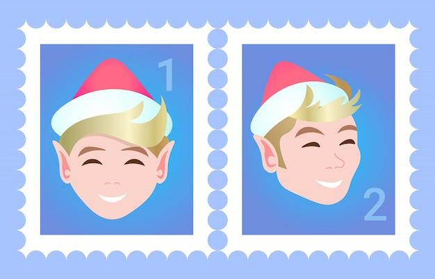 Postzegel vrouw gezicht avatar gelukkig nieuwjaar vrolijk kerstfeest vrouwelijke stripfiguur portret plat