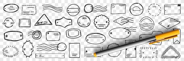 Postzegels en brieven doodle set
