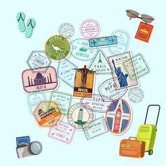 Postzegels en immigratiezegels over de hele wereld en cartoonbagage, camera en flip-flops,