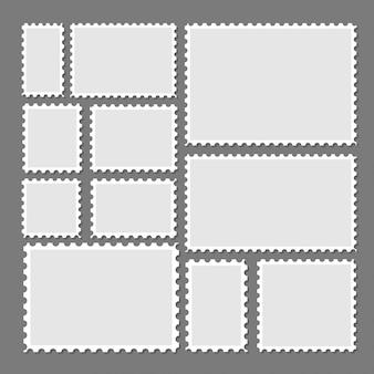Postzegels frames ingesteld op achtergrond. getande grensstickers in verschillende grootte.
