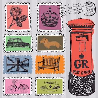 Postzegels ingesteld