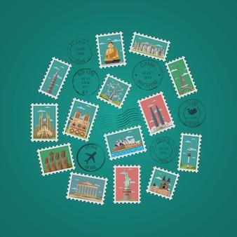 Postzegels met beroemde architecturale composities